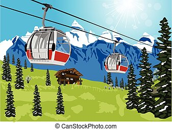 wonderful summer scenery with ski lift cable booth or car -...