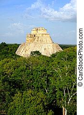 paisaje, vertical, vista, de, Uxmal, Arqueológico,...