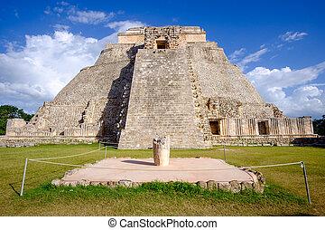 escénico, vista, de, Maya, pirámide, en,...