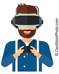 Man wearing virtual reality headset. - A man wearing a...