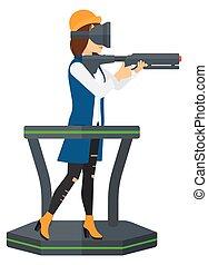 Full virtual reality - A woman wearing virtual reality...