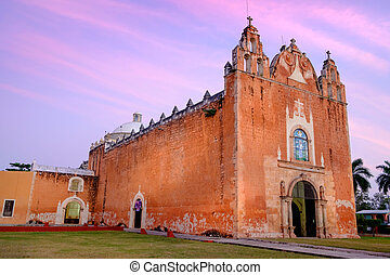Scenic view of typical Mexican church at sunset, Ticul