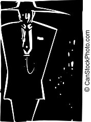 Zoot Suit - Woodcut style image of a man in zoot suit