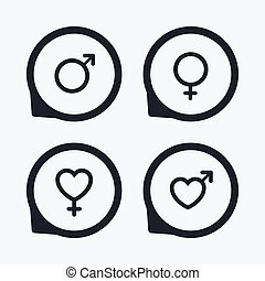 Male and female sex icons. Man Woman signs.