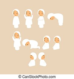 child muslim pray islam praying move cartoon vector...