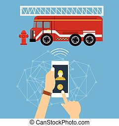 emergency mobile phone call fire truck fireman