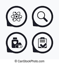 Medical icons Atom, magnifier glass, checklist - Medical...