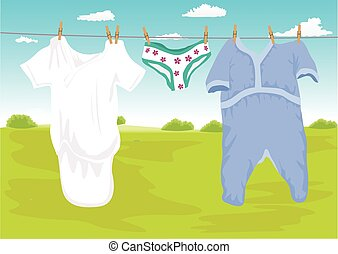 clothes drying outdoor in the garden - Illustration of...