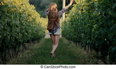 Beautiful girl walking on the vine rows