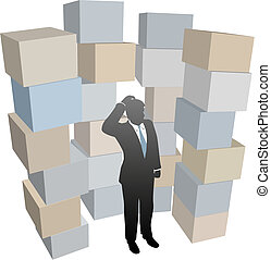 Business man in stacks of shipping boxes cartons -...