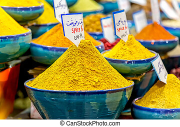 Shiraz Vakil Bazaar spices - Exposed spices with prices in...