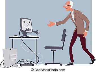 computer for seniors - Elderly man shaking hands with a...