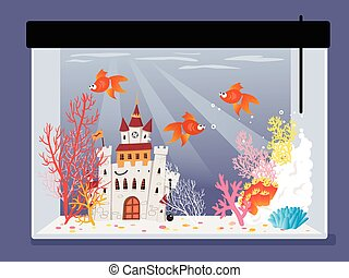 Fish tank - Cartoon fish tank with a castle, corals and...