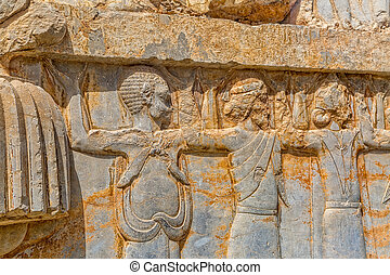 Relief of Persepolis - Relief ditail of old city Persepolis,...