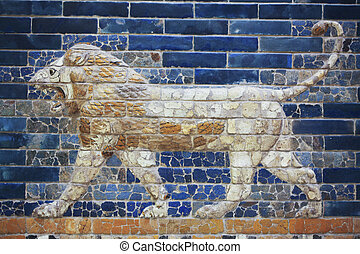 Babylon lion - Beautiful ancient glazed tiles symbolizing a...