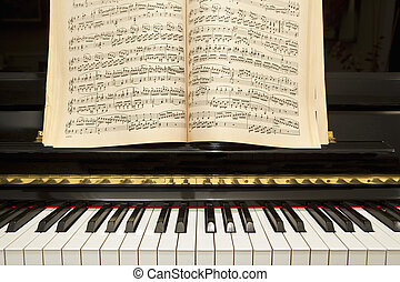 Piano with Music Book - Piano Keyboard with Classical Music...