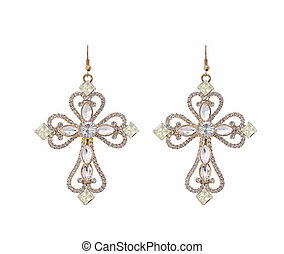 Earring the shape of a cross with zircons on white...