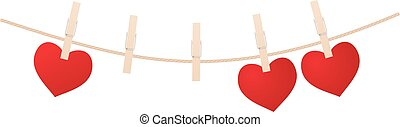 Red hearts with clothespins hanging on clothesline isolated...