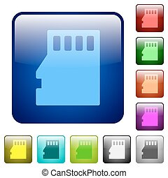 Color micro SD square buttons - Set of micro SD card color...
