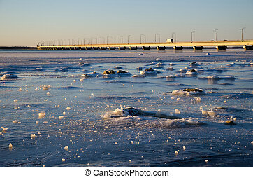 Icescape by the bridge - Icescape by the Oland bridge,...