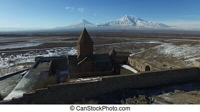 Khor Virap Monastery panorama at sunrise in front of Ararat...