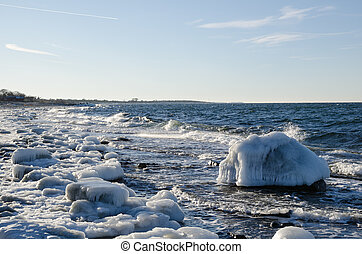 Ice covered Nordic coast - Ice covered coast at the Swedish...