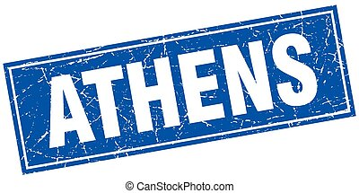 Athens blue square grunge vintage isolated stamp