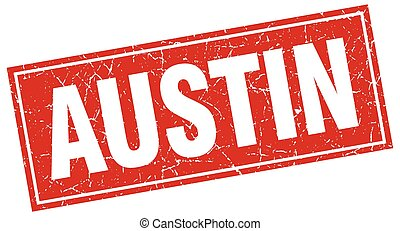 Austin red square grunge vintage isolated stamp