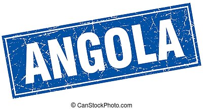 Angola blue square grunge vintage isolated stamp
