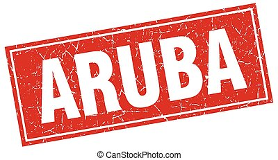 Aruba red square grunge vintage isolated stamp