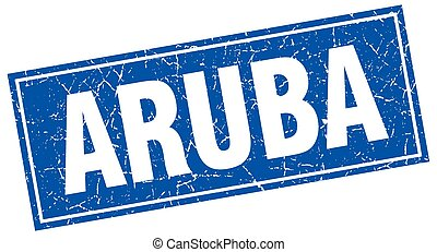 Aruba blue square grunge vintage isolated stamp