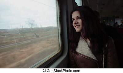 Attractive girl on the train