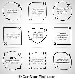 Set of nine citations in tex boxes, frames and quotes....