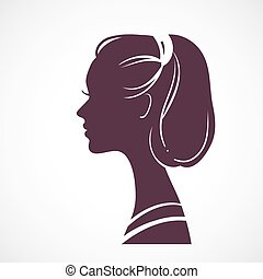 Women silhouette head with stylized haircut