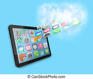 Tablet with cloud of apps
