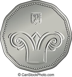 Obverse Israeli silver money five shekel coin - Vector...