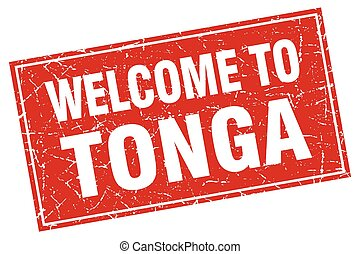 Tonga red square grunge welcome to stamp