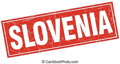 Slovenia red square grunge vintage isolated stamp
