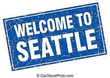 Seattle blue square grunge welcome to stamp