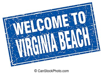 Virginia Beach blue square grunge welcome to stamp