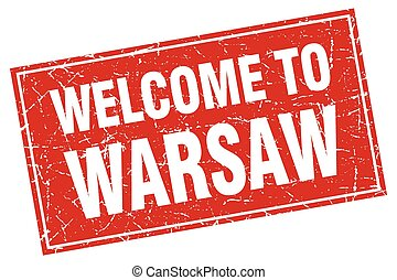 Warsaw red square grunge welcome to stamp