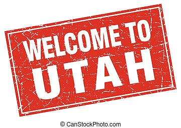 Utah red square grunge welcome to stamp