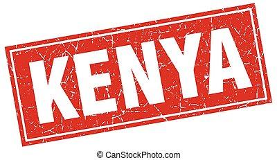 Kenya red square grunge vintage isolated stamp