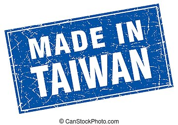 Taiwan blue square grunge made in stamp
