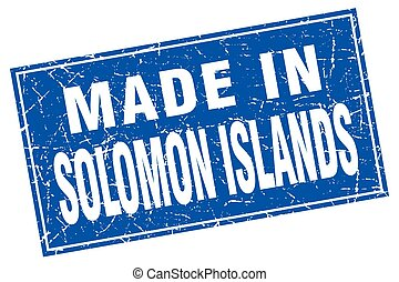 Solomon Islands blue square grunge made in stamp