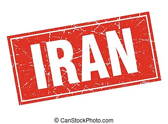 Iran red square grunge vintage isolated stamp