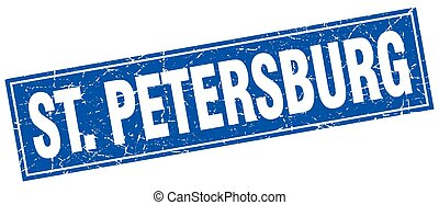 St Petersburg blue square grunge vintage isolated stamp