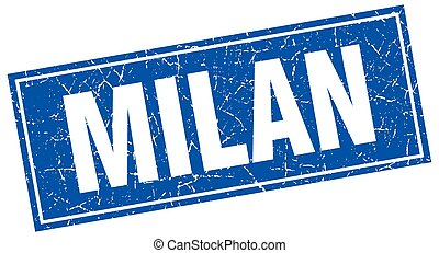 Milan blue square grunge vintage isolated stamp