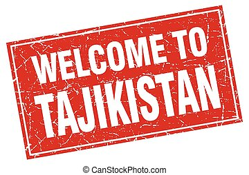 Tajikistan red square grunge welcome to stamp