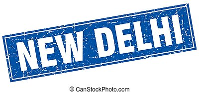 New Delhi blue square grunge vintage isolated stamp